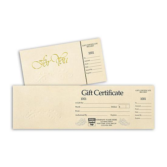 [Image: Custom Gift Certificates - Ivory Foil Embossed Gift Certificate With Side Stub]