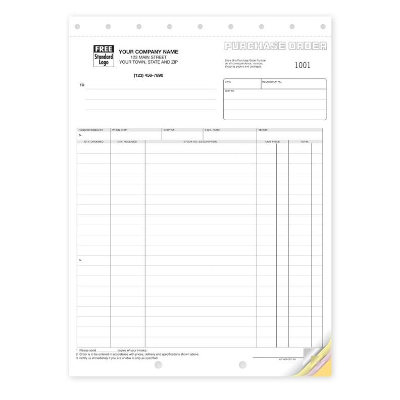 "[Image: Purchase Order - Customized Carbonless Business Forms, 2-Part, 3-Part, 4-Part, Large 8 1/2 x 11"", Pre-Printed]"