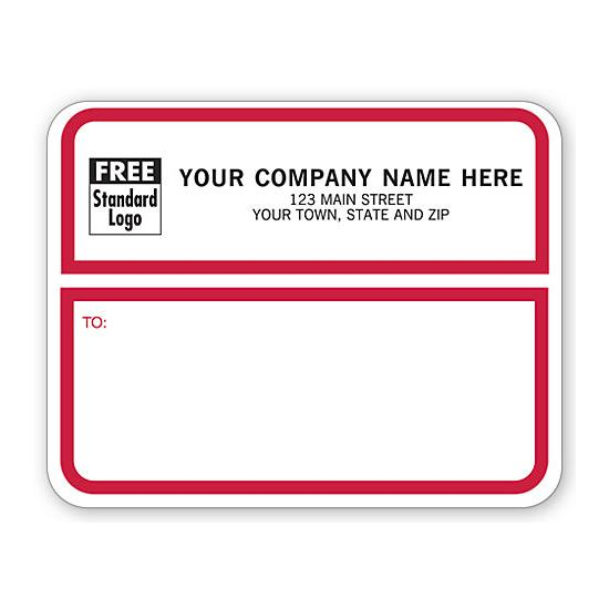 [Image: Jumbo Shipping Labels, Padded, White With Red Border]