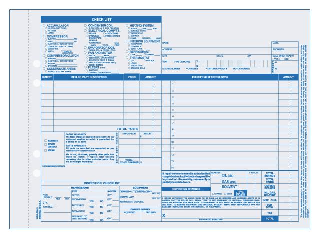 [Image: Auto Heating & Air Conditioning Invoice Form]