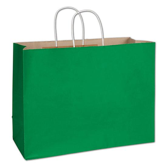"[Image: Shopping Bag - Spruce Green Radiant Shoppers, 16 X 6 X 12 1/2"", Paper Bags]"