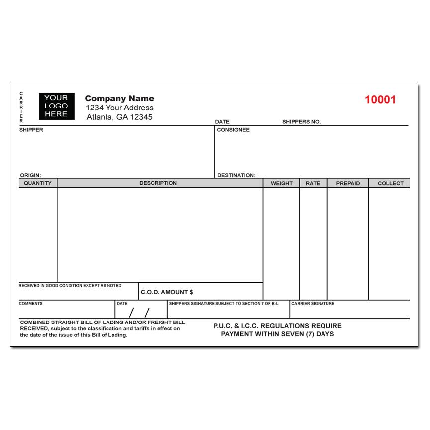 [Image: Custom Freight Bill of Lading Form]