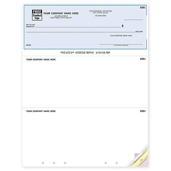 [Image: QuickBooks Laser Lined, Hole Punched Multipurpose Check DLT102]