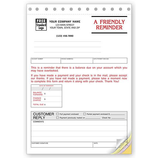 [Image: Payment Reminder Notice - 4-Part Carbonless, Collections System]