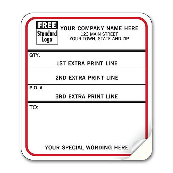 [Image: Shipping Content Labels, Padded, White With Black & Red]