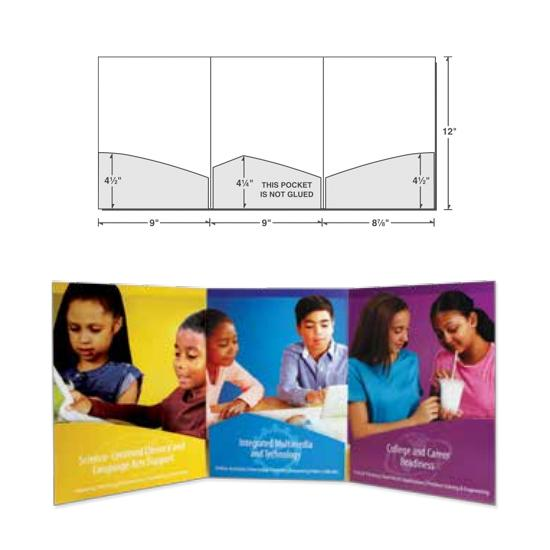 [Image: Tri Panel Presentation Folder, with Three Curved Pockets, Custom Printed]