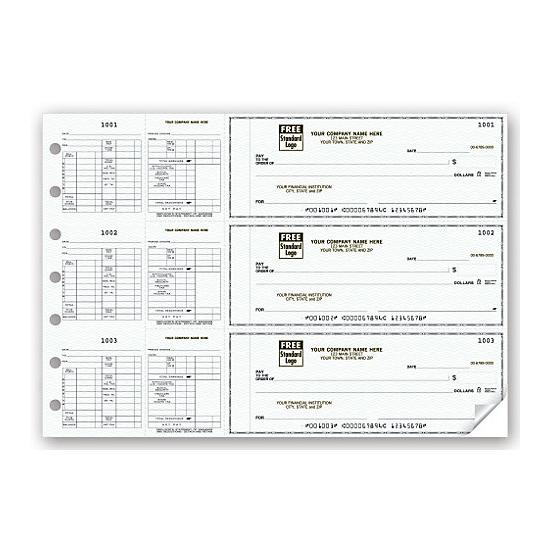 [Image: 3-On-A-Page Business Size Checks For Hourly Payroll]