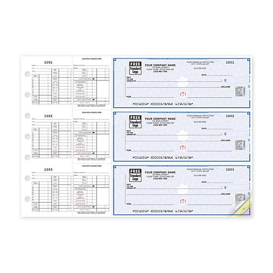 [Image: 3-On-A-Page Business Size Checks For Hourly Payroll 53263DS]