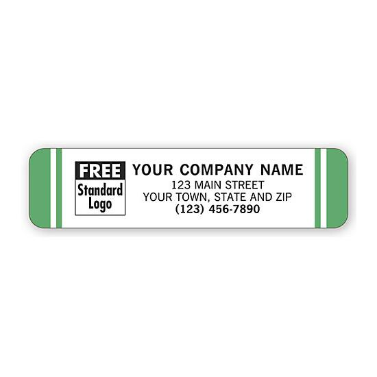 [Image: Advertising Labels, White With Green Stripes]