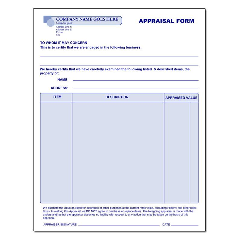 [Image: General Appraisal Receipt Form]