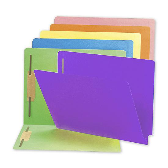 [Image: End Tab Folders, Colored, Full Cut, 20 Pt, Two Fastener]