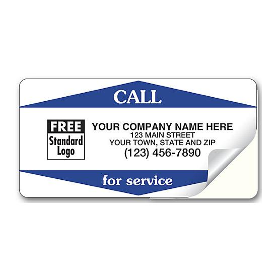 "[Image: Weather Proof Service Sticker - Durable White Vinyl Laminated Stock, Personalized Printing, 3 1/2"" x 1 3/4""]"