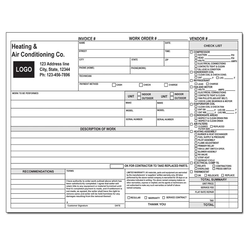 "[Image: Hvac Work Order Invoice - Custom Printed, 2 or 3-Part Form, Carbonless Copies, Large 8 1/2 x 11""]"