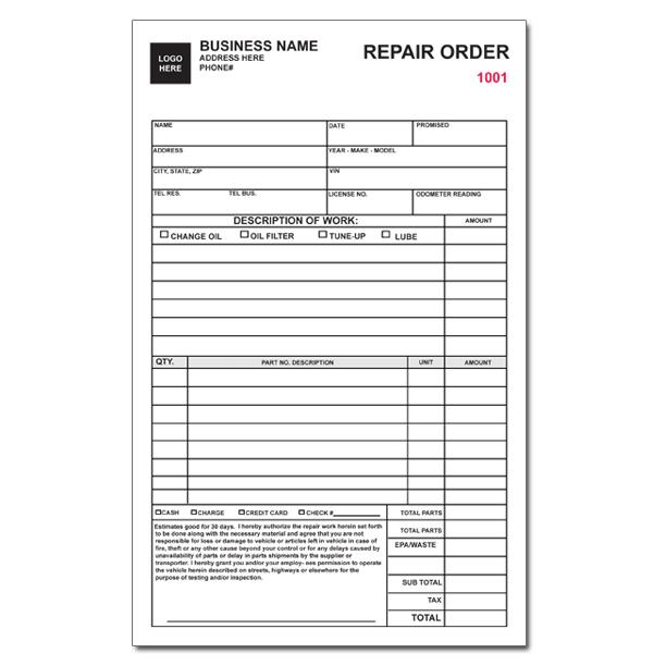 Auto repair invoice work orders custom carbonless for Repair ticket template