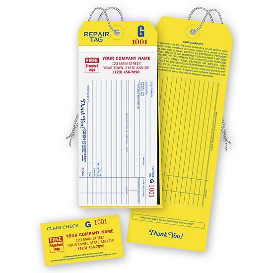 [Image: 4-In-1 Repair Tags With Claim Check & Carbons, White]