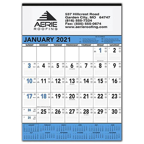 [Image: 2021 Blue & Black Contractors Memo Calendar, Printed & Personalized]