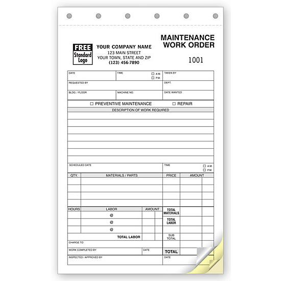 [Image: Maintenance Work Order Form - Personalized & Custom Printed]