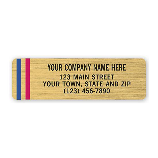 [Image: Advertising Labels, Gold Poly Film With Red/Blue Stripes]