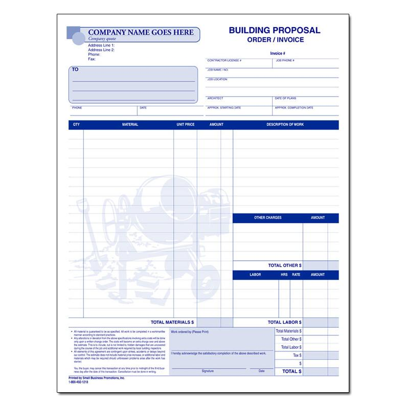 Contractor Invoice Carbonless Forms Designsnprint