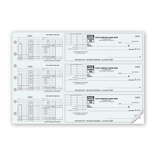[Image: Business Payroll Check With Corner Voucher, Personalized]