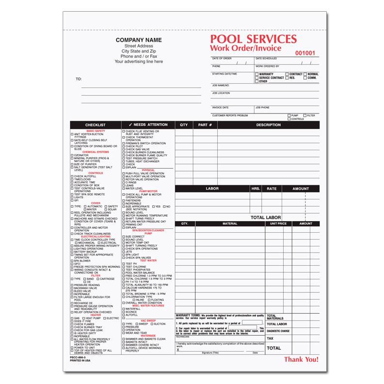 Spa & Pool Business Invoice Forms - Work Order | Designsnprint