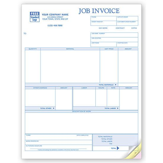 [Image: Job Invoice Form Custom Printed, Laser and Inkjet Compatible]