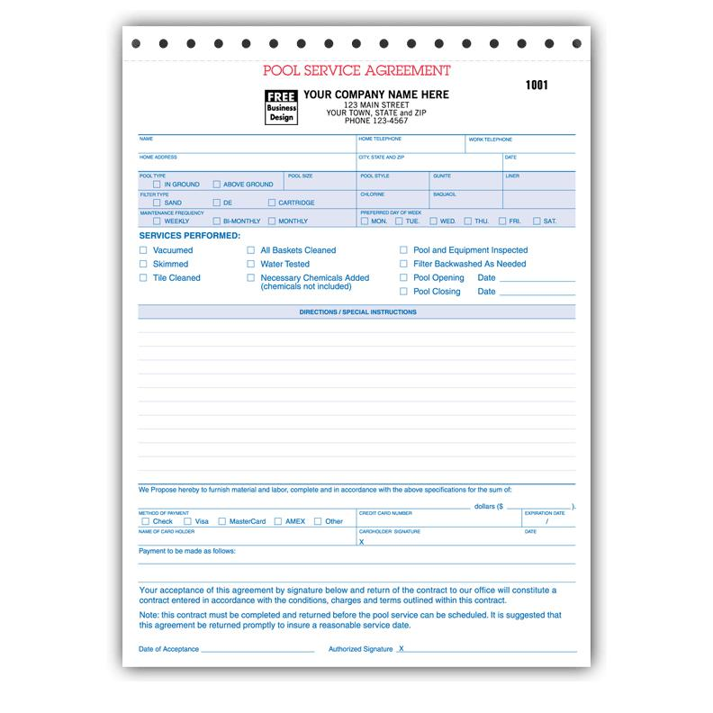 Spa U0026 Pool Business Invoice Forms  Company Invoice Forms