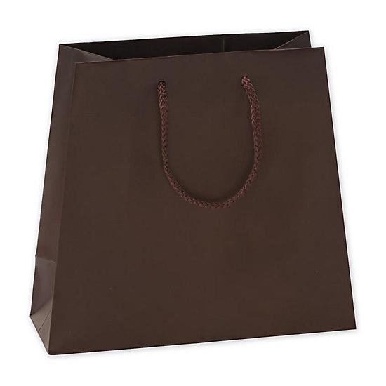 [Image: Retail Shopping Bags - Chocolate Matte Laminated Inverted Trapezoid Euro-Shoppers]
