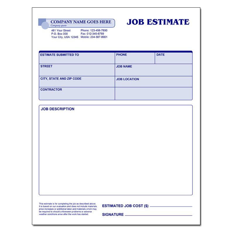 Estimate Forms Job Estimate Invoice Carbonless Form General Invoice