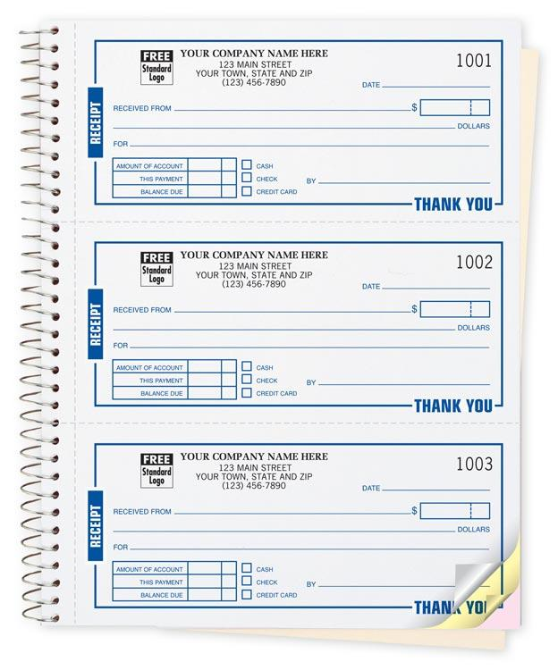 "[Image: Receipt Book - 2 or 3-Part Carbonless, 6 3/4 x 8 1/2"", Personalized, 225 Sets Per Book, 3 Receipts Per Page]"