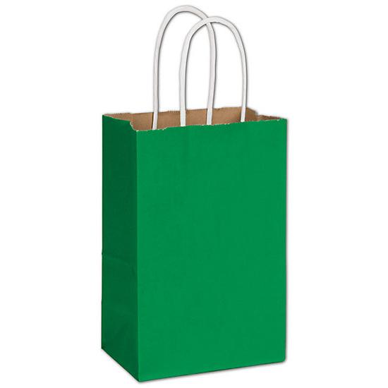 "[Image: Small Green Shopping Paper Bag, 5 1/4 X 3 1/2 X 8 1/4"", Retail Bags]"