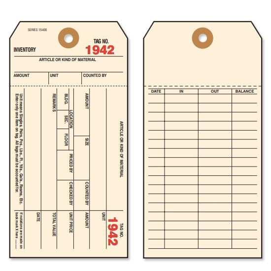 "[Image: 1 Part Inventory Tags - Preprinted on Front & Back, 3 1/8 x 6 1/4"", Prenumbered, Box of 1000]"