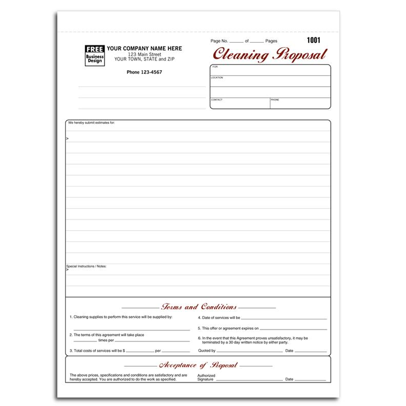 Cleaning And Janitorial Invoice Forms | Designsnprint