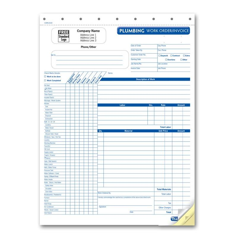 [Image: PLUMBING INVOICE WITH CHECKLIST]