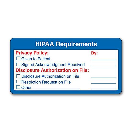 [Image: HIPAA Requirements Label]