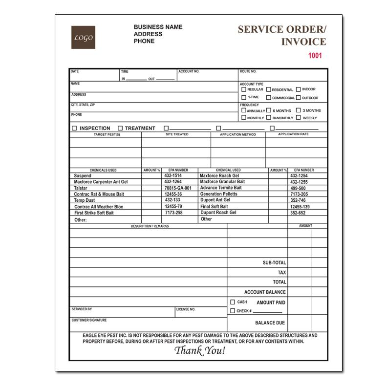Pest Control Invoice Forms  Work Order  Proposal  Designsnprint