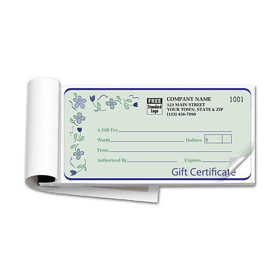 [Image: Custom Gift Certificate Book, Carbon Copy, Spring Bouquet Design]