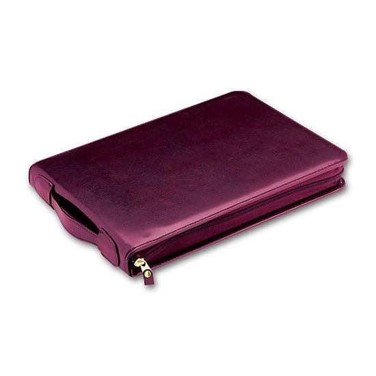 [Image: 3-On-A-Page Zippered Leather Portfolio]