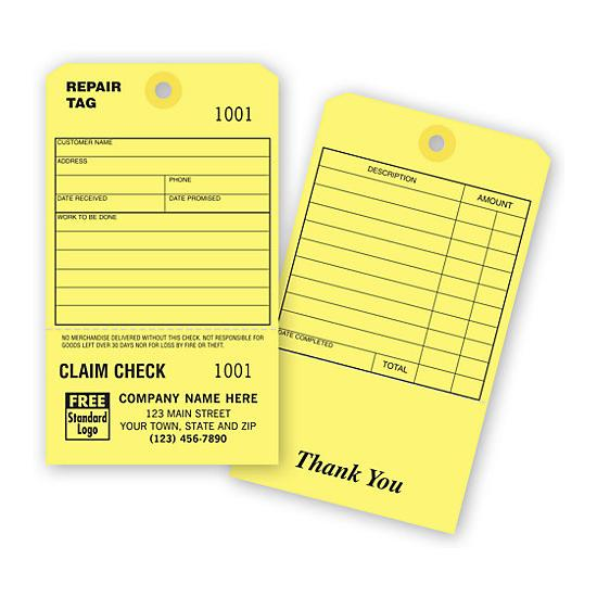 [Image: Claim Check Repair Tag]