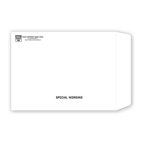 [Image: White Mailing Envelope with Return Address Printed, 9 X 12]
