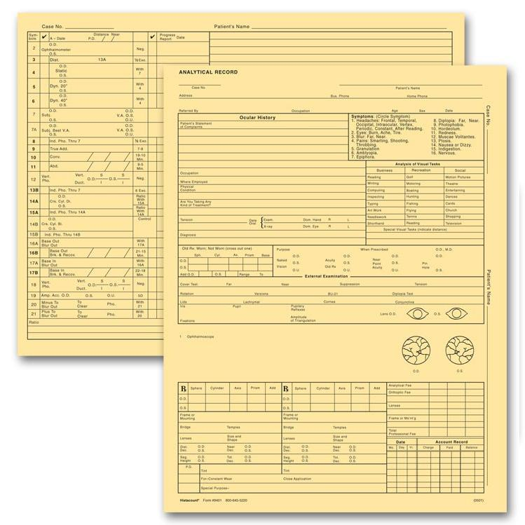 [Image: Optometry Exam Record Form, Letter Style, Buff]