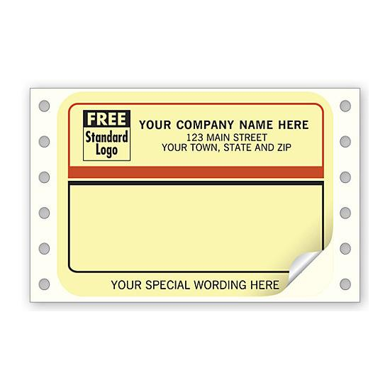 [Image: Continuous Shipping Label with Color Background]