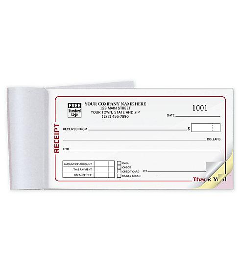 "[Image: Small Business Receipt Book - 6 3/4 x 3 3/8"", Carbonless, Duplicate or Triplicate, Custom Printed]"