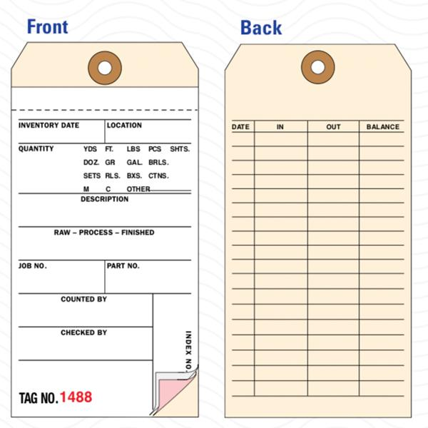 "[Image: 3 Part Inventory Tags - Carbonless Copies, Preprinted, Prenumbered, 3 1/8"" x 6 1/4"", 500 Per Box]"