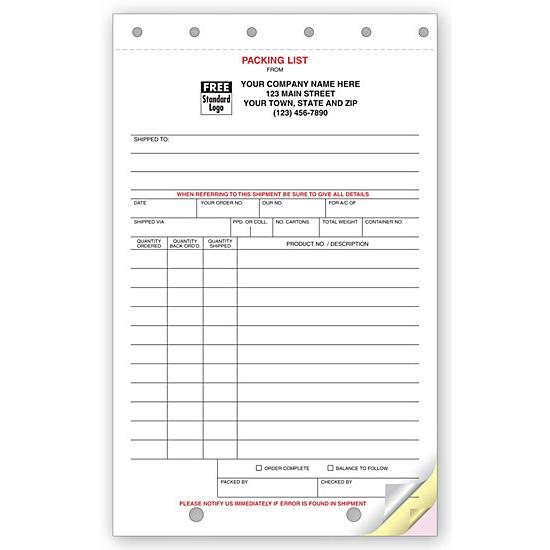 [Image: Packing Lists - Shipping & Receiving Forms]