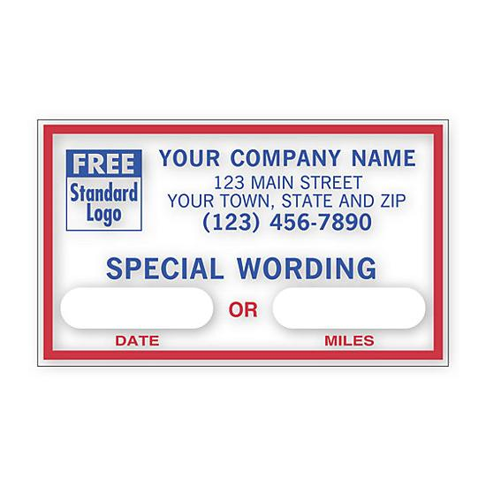 "[Image: Static Cling Oil Change Sticker - Custom Printed Message, Windshield Labels, 2 1/2 x 1 1/2""]"