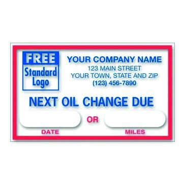 "[Image: Oil Change Sticker - Clear Static Cling Windshield Labels, Personalized, Customized Logo, 2 1/2 x 1 1/2""]"
