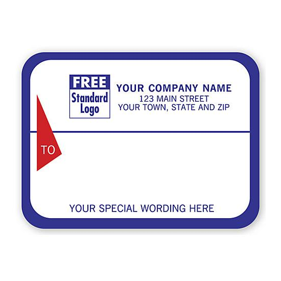[Image: Shipping Label - Return Address Label, White With Blue Border]
