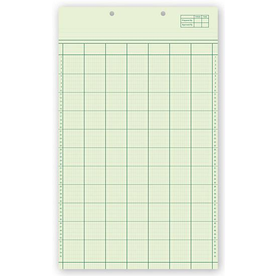 "[Image: Accounting Worksheets - Binder Hole Punch, 50 sheets per pad, Preprinted Green, 8 1/2 x 14""]"