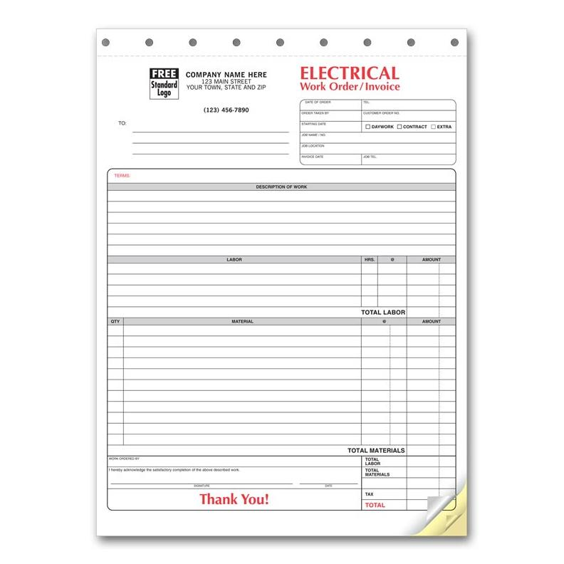 [Image: Electrical Invoice Form - 3 Part Carbonless Copies, Preprinted, Personalized]